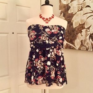 Torrid Navy Blue Floral Strapless Top